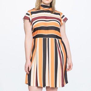 Eloquii Opposing Stripes Tie Back Dress